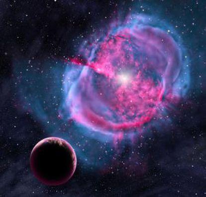 Representação de um dos oito planetas anunciados nesta terça-feira.