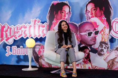 Rosalía, durante uma entrevista coletiva na Cidade do México.