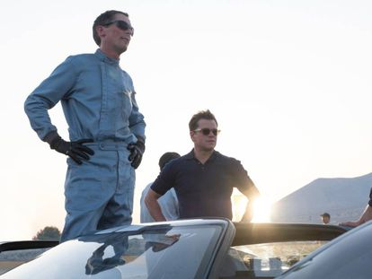 Christian Slater e Matt Damon, em 'Ford vs. Ferrari'.