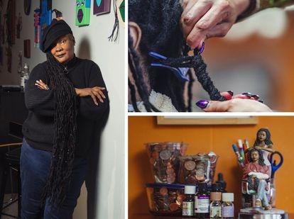 À esquerda, Malaika Tamu-Cooper, proprietária de dois salões de cabeleireiro. À direita, trabalho e decoração do Noire Salon em Silver Spring, Maryland.