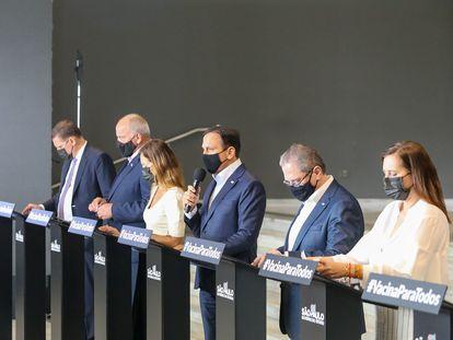 O Governador São Paulo, João Doria, participa de entrevista coletiva nesta quarta-feira, 24 de fevereiro, com secretários e assessores.