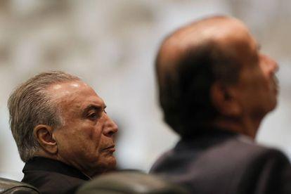 O presidente Michel Temer e o tucano Aloysio Nunes.