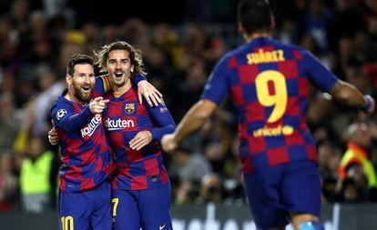 Messi, Griezmann e Suárez fizeram os gols da vitória.