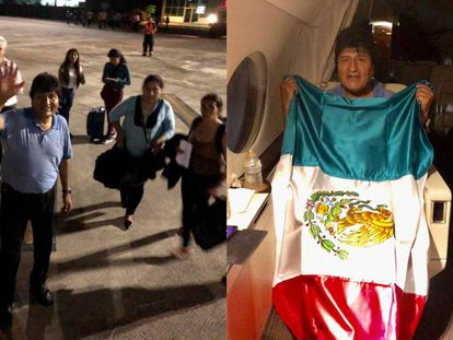 Evo Morales no avião da Força Aérea mexicana.