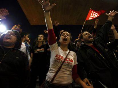 Manifestantes na greve do metrô na última semana.