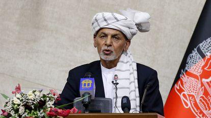 O presidente do Afeganistão, Ashraf Ghani, durante um pronunciamento em Cabul. Em vídeo, Ghani afirma que o reagrupamento das forças de segurança e defesa é prioritário para seu Governo.