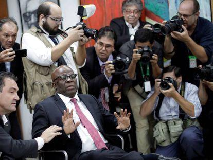 Joaquim Barbosa em reunião do PSB.