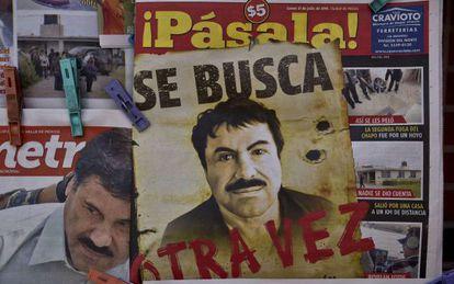 Imagens do traficante depois de sua fuga em uma banca mexicana.