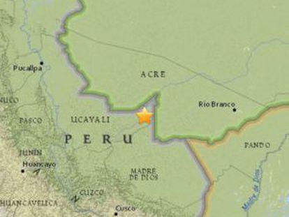 Epicentro do terremoto que aconteceu no leste do Peru na terça-feira, dia 24.