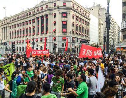 Manifestação no centro de São Paulo.