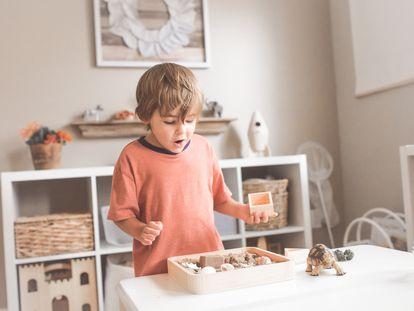 Menino olha admirado para uma caixa de brinquedos.