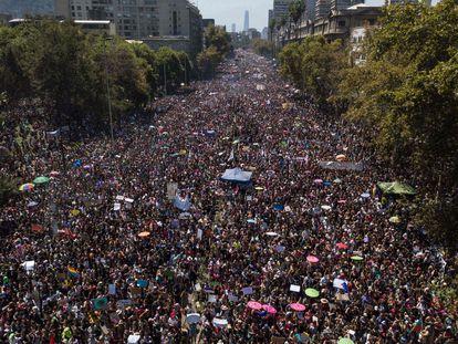 Manifestação em Santiago no dia 8 de março de 2020.