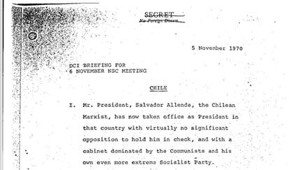 Introdução de um dos documentos do Conselho de Segurança Nacional dos EUA agora desclassificados, que traça um perfil do ex-presidente chileno Salvador Allende.