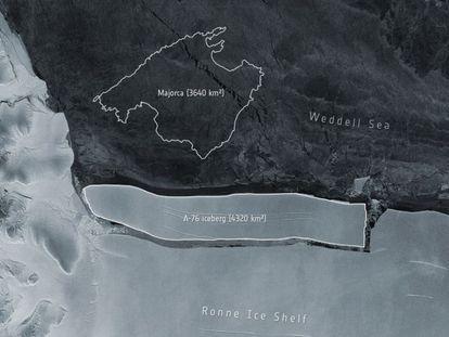 Imagem distribuída pela Agência Espacial Europeia mostra o iceberg A-76 com o desenho da ilha de Mallorca como referência da sua extensão.