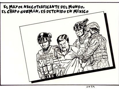 """O maior narcotraficante do mundo, """"El Chapo"""" Guzmán, é parado no México."""