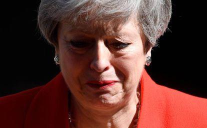 Theresa May, durante o anúncio de sua demissão.