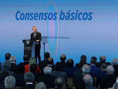 O presidente Mauricio Macri apresenta seu plano de reformas em Buenos Aires.