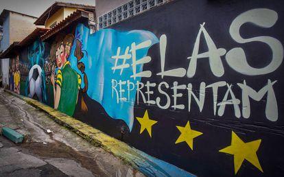 Muro grafitado na Brasilândia, em São Paulo.