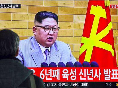 O discurso de Ano Novo de Kim Jong-um, em uma cadeia de televisão surcoreana.