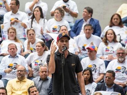 Henrique Capriles durante uma solenidade em Caracas.