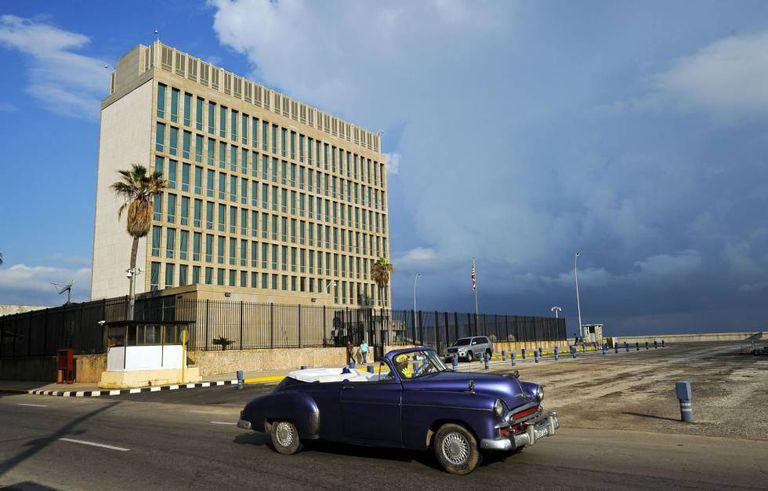 A embaixada dos Estados Unidos em Havana, Cuba.