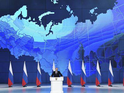 O presidente russo Vladímir Putin em seu discurso do estado da nação