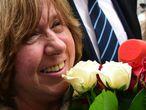 A Nobel bielorrussa Svetlana Alexievich, nesta quinta-feira em Minsk.