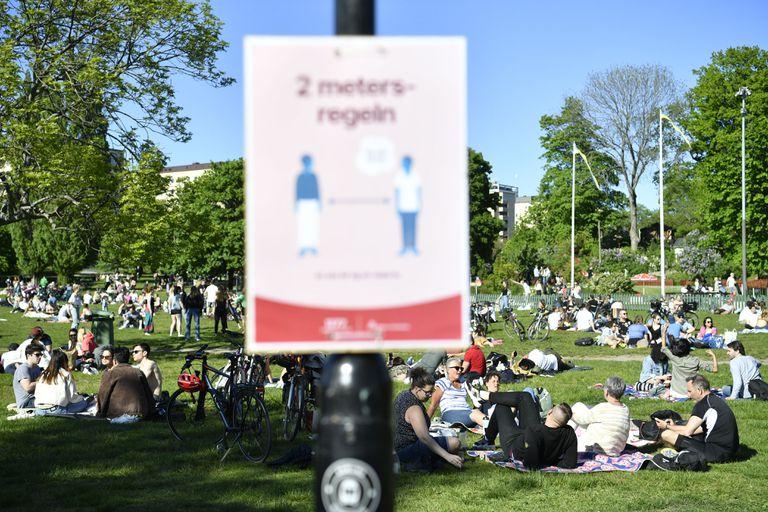 Vários grupos ao ar livre no Parque Tantolunden, no centro de Estocolmo, em 30 de maio de 2020.