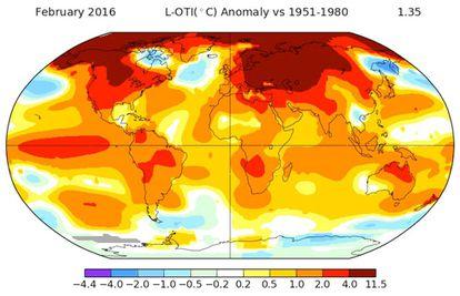 Mapa mundial com a variação da temperatura em fevereiro em relação à média do período 1951-1980.