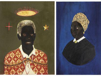 À esquerda um retrato de Chico Rei, do artista Antonio Oba, e à direita um retrato de Dona Afra da artista Monica Ventura.