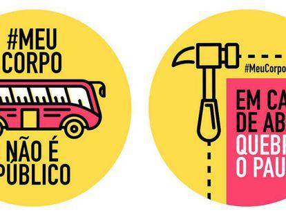 Adesivos da campanha do tumblr #MeuCorpoNãoÉPúblico.