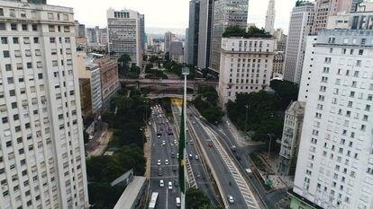 Vista do vale do Anhangabaú, no centro de São Paulo.