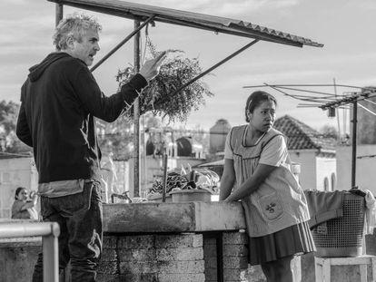 Alfonso Cuarón, durante filmagem de 'Roma'.