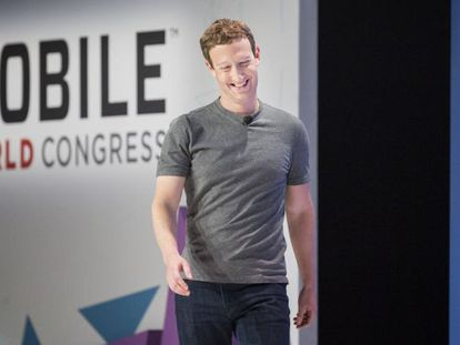 O fundador do Facebook, Mark Zuckerberg, no MWC.