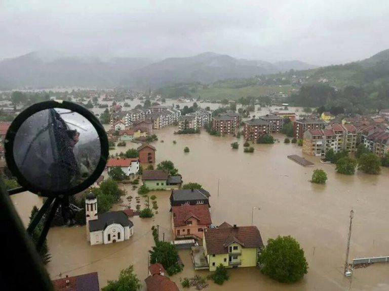 Inundações em Maglaj (Bósnia) em maio.