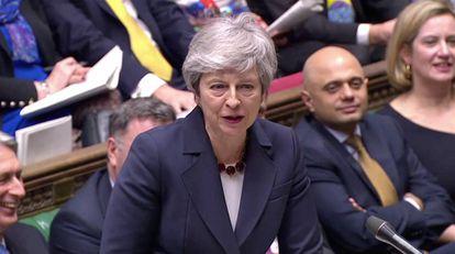 Theresa May, nesta quarta-feira no Parlamento.