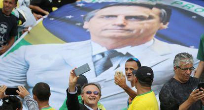 Apoiadores de Jair Bolsonaro durante o evento da posse, em Brasília.
