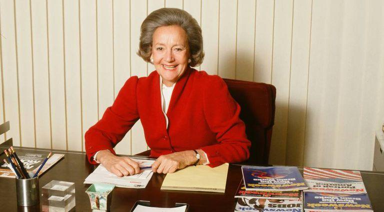Katherine Graham em seu escritório em 1980: em 'The Post' ela é interpretada por Meryl Streep.