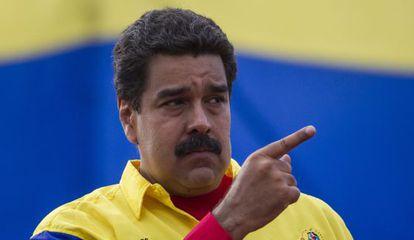 O presidente venezuelano, Nicolás Maduro, durante um ato de campanha eleitoral.