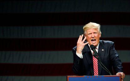 Donald Trump discursa em Greensboro, Carolina do Norte.