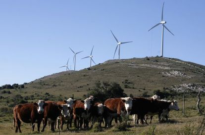 Moinhos de vento na Sierra de Caracoles, Uruguai.