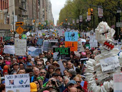Marcha pela Ciência em Nova York, nos EUA.