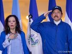 Nicaragua's President Daniel Ortega and Vice-President Rosario Murillo attend a ceremony to mark the 199th Independence Day anniversary, in Managua, Nicaragua September 15, 2020. Nicaragua's Presidency/Cesar Perez/Handout via REUTERS ATTENTION EDITORS - THIS IMAGE HAS BEEN SUPPLIED BY A THIRD PARTY. NO RESALES. NO ARCHIVES