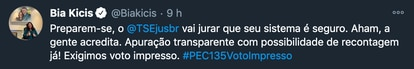 Tuite da deputada Bia Kicis, no qual ela insinua falta de lisura do TSE