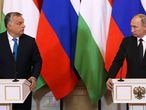 MOSCOW, RUSSIA - SEPTEMBER 18: (RUSSIA OUT) Russian President Vladimir Putin (R) and Hungarian Prime Minister Viktor Orban during their meeting at the Kremlin on September 18, 2018 in Moscow, Russia. President of Hungary Orban is having a one-day visit to Moscow. (Photo by Mikhail Svetlov/Getty Images)