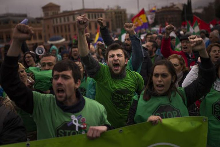 """Manifestantes das """"Marchas da dignidade"""", neste sábado em Madri."""