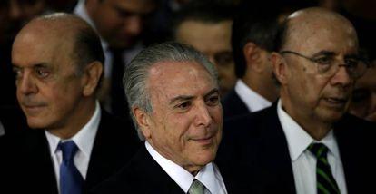 Serra, Temer e Henrique Meirelles.