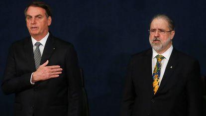 Jair Bolsonaro na cerimônia de posse do procurador-geral da República, Augusto Aras, em 2019.