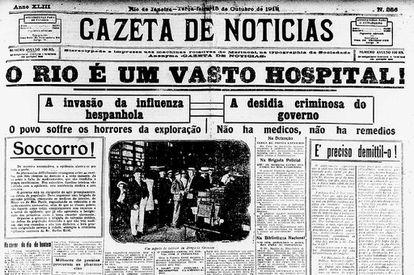 A primeira página da 'Gazeta de Notícias' mostra o caos no Rio de Janeiro dominado pela gripe espanhola (imagem: Biblioteca Nacional)
