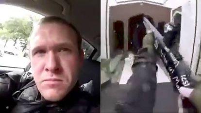 Captura de vídeo com o rosto de um dos terroristas de Christchurch e da arma que usou nesta sexta-feira no atentado contra duas mesquitas